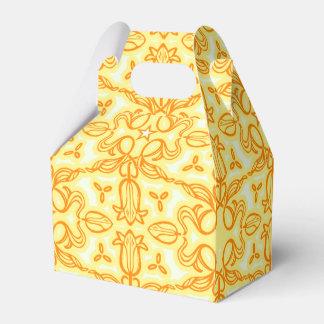 チューリップのダマスク織の黄色のパターン(の模様が)あるな春かイースター箱 フェイバーボックス