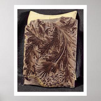 チューリップのデザインの印刷ブロック1875年(切り分けられた木) ポスター