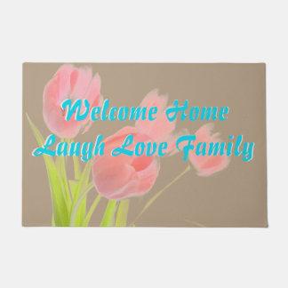 チューリップのドア・マット愛生きている家族のレトロのピンクの水 ドアマット