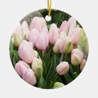 チューリップのライトのピンク 陶器製丸型オーナメント