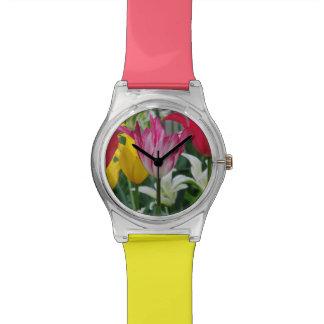 チューリップの写真撮影の女性用腕時計 腕時計