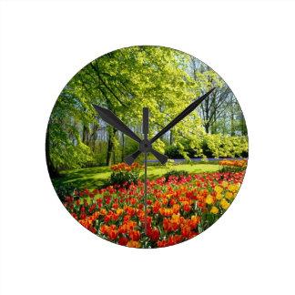 チューリップの時間、Keukenhofの庭 ラウンド壁時計