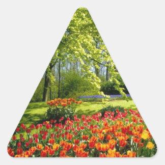 チューリップの時間、Keukenhofの庭 三角形シール