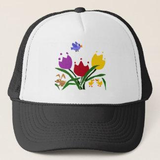 チューリップの花およびバニー、アヒルおよびブルーバード キャップ