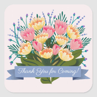 チューリップの花束のステッカー スクエアシール