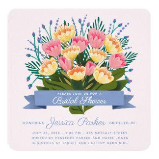 チューリップの花束のブライダルシャワーの招待状 カード