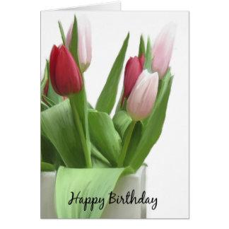 チューリップの誕生日の挨拶状(絵を描かれるデジタル油 カード