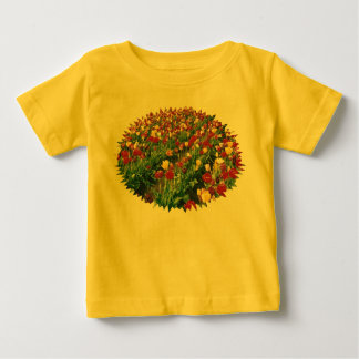 チューリップの黄色いベビーのTシャツ ベビーTシャツ