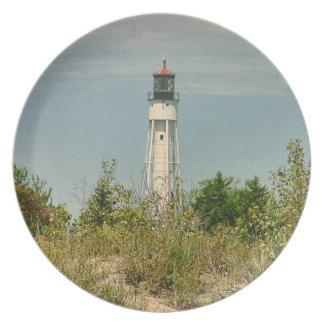 チョウザメ湾の灯台-ミシガン湖のプレート プレート