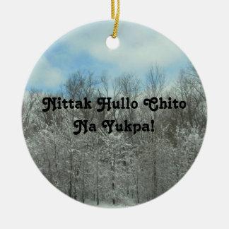 チョクトー語のメリークリスマス セラミックオーナメント