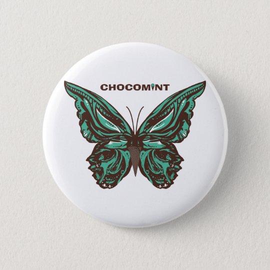 チョコミント 蝶 5.7CM 丸型バッジ