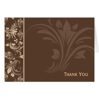 チョコレートおよびクリームの花柄スクロール カード