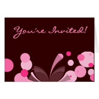 チョコレートおよびピンクの招待状 カード