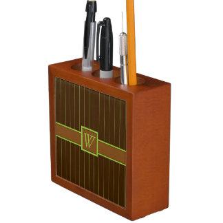 チョコレートおよびライムの細い縦縞の机のオルガナイザー ペンスタンド