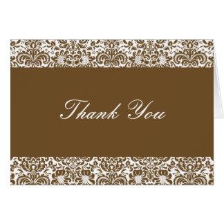 チョコレートおよび白いダマスク織はノート感謝していしています カード
