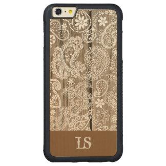 チョコレートおよび白いペイズリー CarvedメープルiPhone 6 PLUSバンパーケース