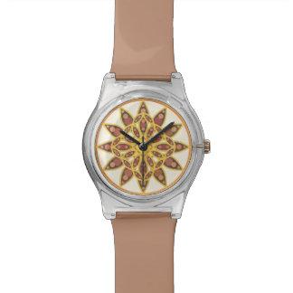 チョコレートおよび金ゴールドの陰の曼荼羅パターン 腕時計