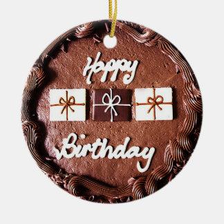 チョコレートお誕生日ケーキのオーナメント セラミックオーナメント