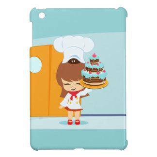 チョコレートお誕生日ケーキを握っているかわいい女の子 iPad MINI カバー