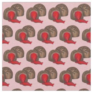 チョコレートさくらんぼのバレンタインキャンデーの生地 ファブリック