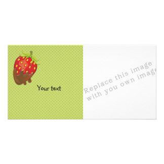 チョコレートで浸るいちご カード