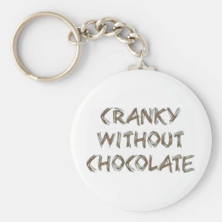 チョコレートなしで不機嫌 ベーシック丸型缶キーホルダー