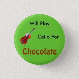 チョコレートのためのチェロを演奏します 3.2CM 丸型バッジ