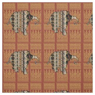 チョコレートの象パターン ファブリック