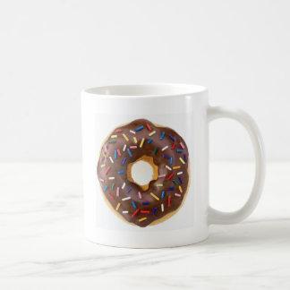 チョコレートはドーナツを振りかけます コーヒーマグカップ