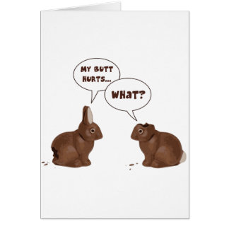 チョコレートイースターのウサギのウサギのお尻の傷 カード