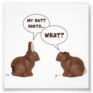 チョコレートイースターのウサギのウサギのお尻の傷 フォトプリント