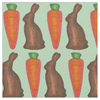 チョコレートイースターのウサギのnのにんじんキャンデーの生地 ファブリック