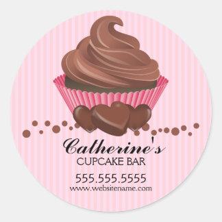 チョコレートカップケーキのベーカリーのステッカー 丸形シール・ステッカー