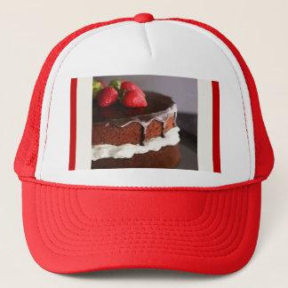 チョコレートケーキおよびいちごの帽子 キャップ