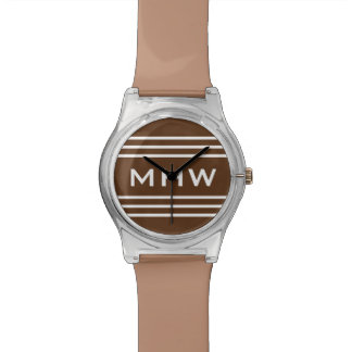 チョコレートストライプでカスタムなモノグラムの腕時計 腕時計