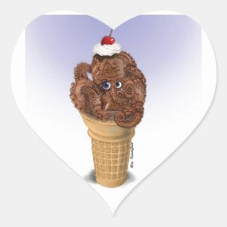 チョコレートタコのアイスクリーム ハートシール