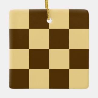チョコレートチェッカーボードのクッキー セラミックオーナメント