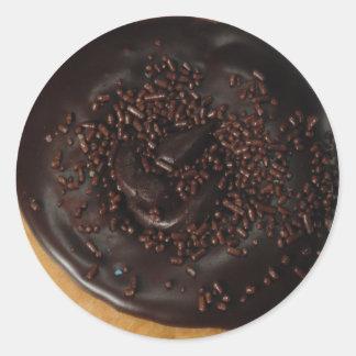 チョコレートドーナツ円形の光沢のあるステッカー ラウンドシール