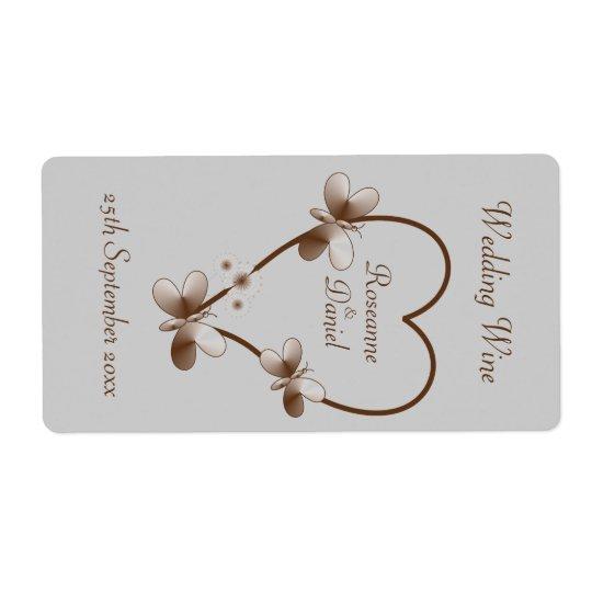 チョコレートハートおよび蝶小型ワインのラベル 発送ラベル