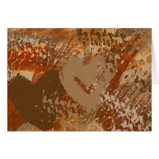 チョコレートハートの抽象芸術パターンメッセージカード カード