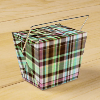 チョコレートパステルの格子縞の1パーティの好意箱は、取ります フェイバーボックス