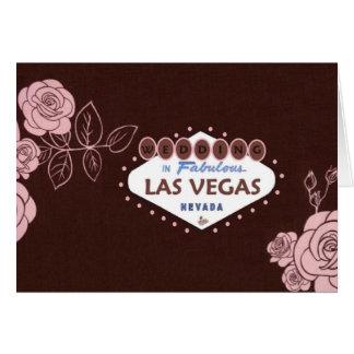 チョコレートピンクのバラのラスベガスの結婚式の招待状 グリーティングカード