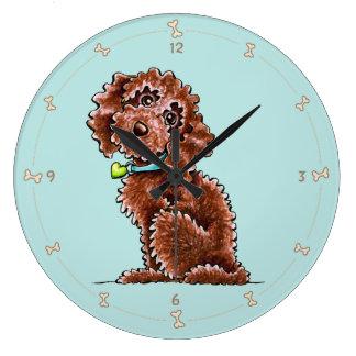 チョコレートプードルの組合せの側面は坐ります ラージ壁時計