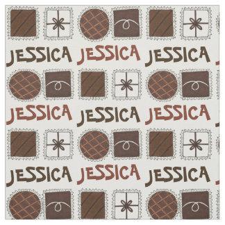 チョコレートボンボン菓子キャンデーの名前入りなグルメの生地 ファブリック