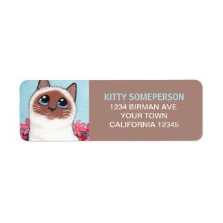 チョコレートポイントBirman猫の絵画 ラベル