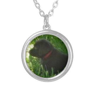 チョコレートラブラドル・レトリーバー犬のラベル/オーナメント シルバープレートネックレス