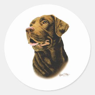 チョコレートラブラドル・レトリーバー犬 ラウンドシール