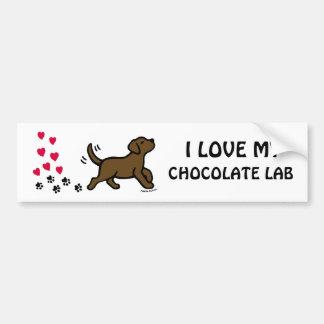 チョコレートラブラドールのハートのバレンタインのステッカー バンパーステッカー