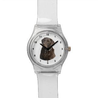 チョコレートラブラドールの写真のポートレート 腕時計