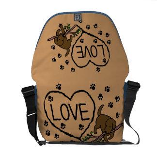 チョコレートラブラドールの砂は漫画に文字を入れます メッセンジャーバッグ